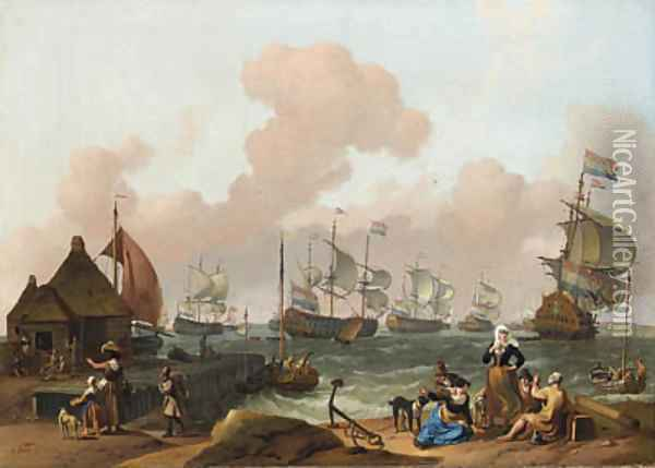 Coastal Scene with the Dutch Fleet under Way, peasants by a jetty in the foreground Oil Painting - Ludolf Backhuyzen