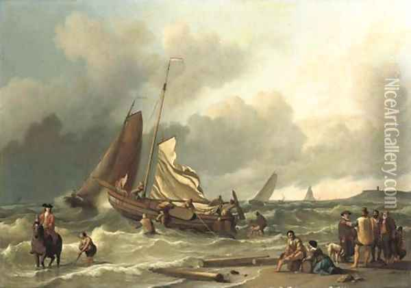 A Dutch fishing boat in a squall with an elegant man on horseback in the shallow tide, other fishing vessels beyond Oil Painting - Ludolf Backhuyzen