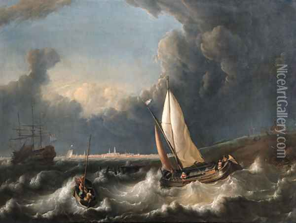 A storm off Hoorn with a wijdschip going about and a pink with its lowered sail Oil Painting - Ludolf Backhuyzen