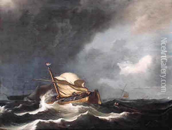 A wijdschip, sails reefed, as a storm approaches Oil Painting - Ludolf Backhuyzen