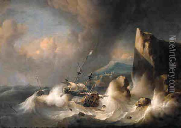 An Amsterdam merchant man and a wijdschip foundering off a rocky coast, in a gale Oil Painting - Ludolf Backhuyzen