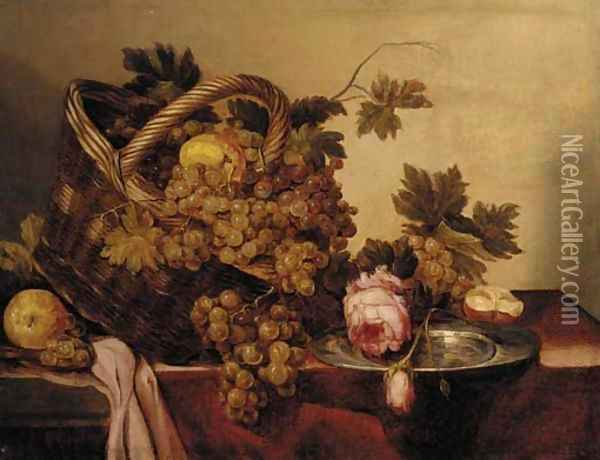 A basket of grapes and apples, with roses and a pewter plate on a table Oil Painting - Abraham Hendrickz Van Beyeren