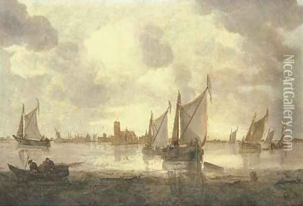 Dutch kaags and other shipping in calm seas, a view of Dordrecht beyond Oil Painting - Abraham Hendrickz Van Beyeren