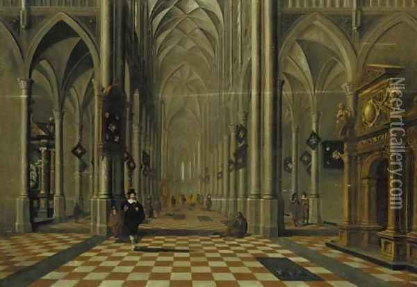The interior of a Gothic church looking east, with elegant company and other figures Oil Painting - Bartholomeus Van Bassen