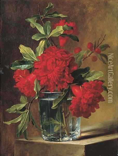 Pomegranate blossoms in a glass vase on a stone ledge Oil Painting - Elise De Bruyere