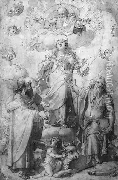 The Madonna and God-the-Father with Saint Luke and Saint Matthew Oil Painting - Filippo Bellini