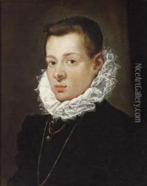 Portrait Of Ayouth Wearing A Ruff Oil Painting - Lodovico Carracci