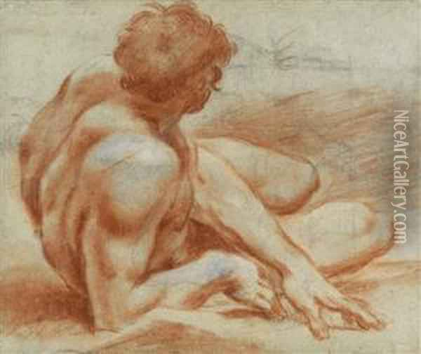 Male Nudereclining Oil Painting - Lodovico Carracci
