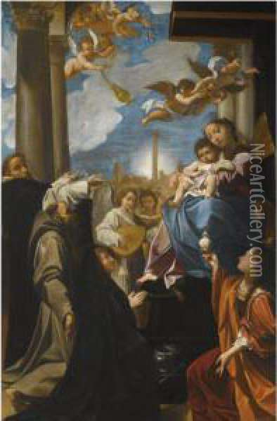 The Madonna And Child Enthroned  With Angels, Saint Dominic, Saint Francis, The Magdalene, And A Female  Donor: The