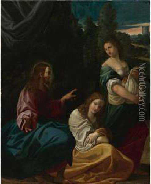 Christ With Martha And Mary Oil Painting - Lodovico Carracci