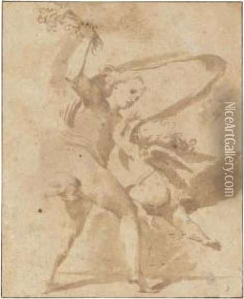Veuns Beating Cupid With A Bunch Of Flowers Oil Painting - Lodovico Carracci