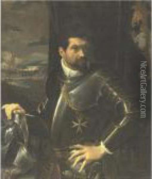 Portrait Of Carlo Alberto Rati  Opizzoni In Armour, Three-quarter Length Standing, Wearing The Order Of  The Knights Of Malta, A View Of The City Of Bologna Beyond Oil Painting - Lodovico Carracci