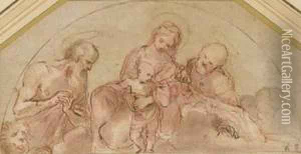 The Holy Family With Saint Jerome: Study For A Lunette Oil Painting - Lodovico Carracci