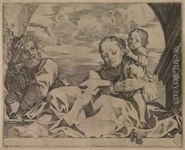 The Holy Family Under An Arch Oil Painting - Lodovico Carracci
