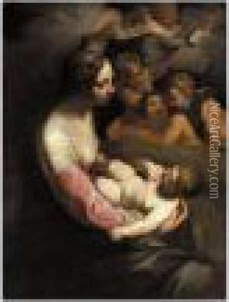 The Madonna And Child With Putti Oil Painting - Lodovico Carracci
