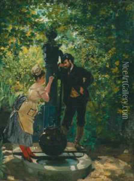 Rendezvous At The Well Oil Painting - Pierre Carrier-Belleuse