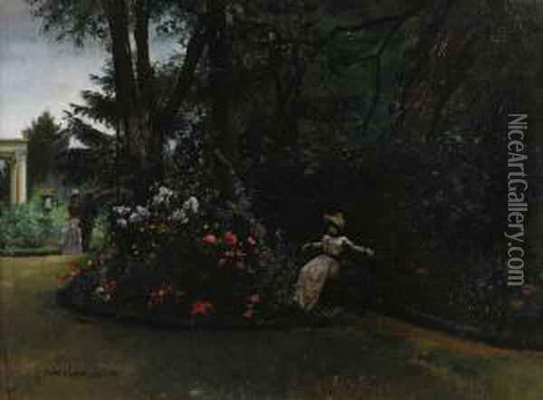 A Rest In The Garden Oil Painting - Pierre Carrier-Belleuse