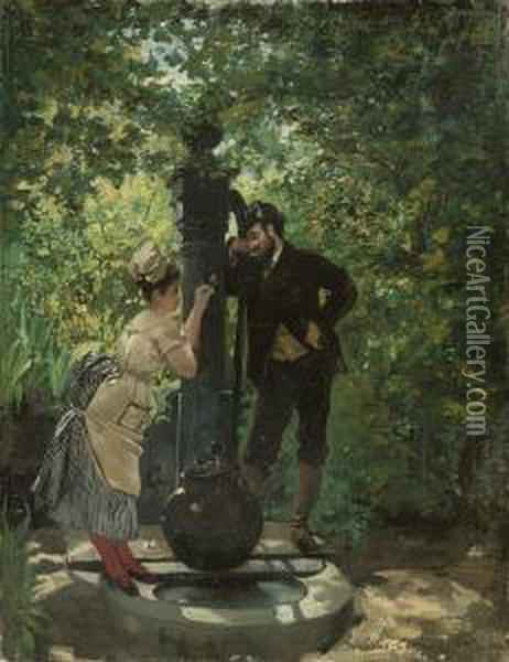 A Rendezvous At The Well Oil Painting - Pierre Carrier-Belleuse