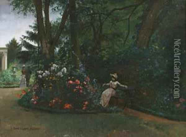 Rest In The Garden Oil Painting - Pierre Carrier-Belleuse