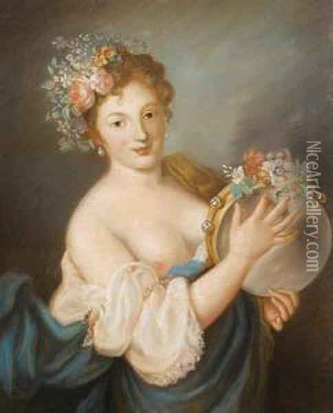 Lady With Tambourine Oil Painting - Rosalba Carriera