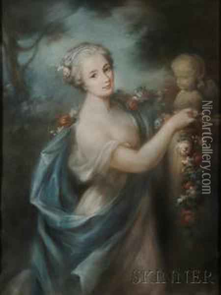 A Woman Offering A Garland Of Flowers To Eros Oil Painting - Rosalba Carriera