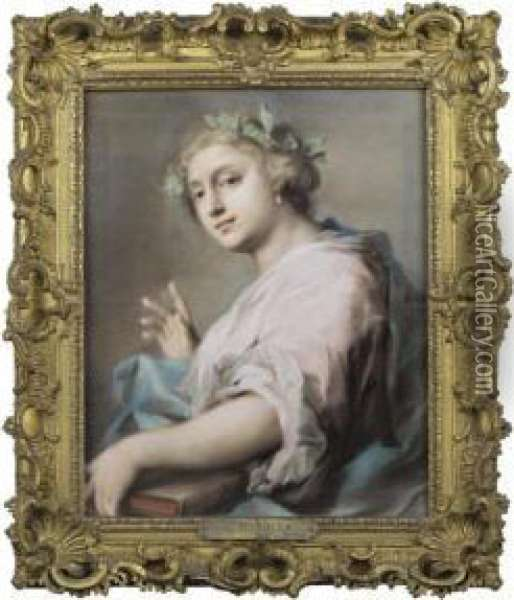 An Allegorical Figure Of A Young Woman Wearing A Laurel Crown Oil Painting - Rosalba Carriera