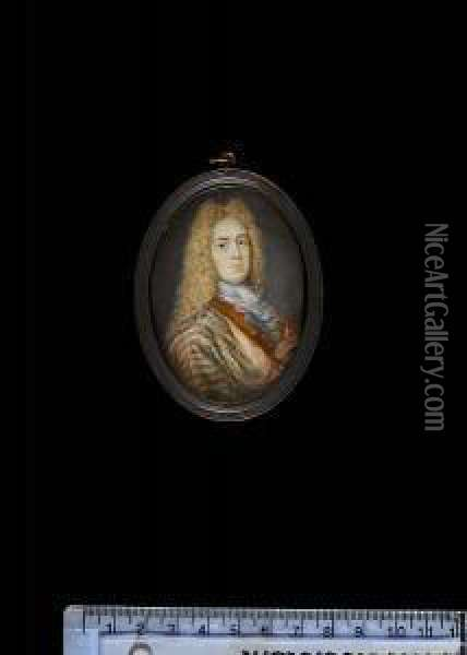 A Young Gentleman, Wearing Pale  Blue Cloak, With Gold Stripes And Pink Lining, Over Blue-lined  Ochre-coloured Coat Edged In Gold, White Lace Cravat And Long Powdered  Wig. Oil Painting - Rosalba Carriera