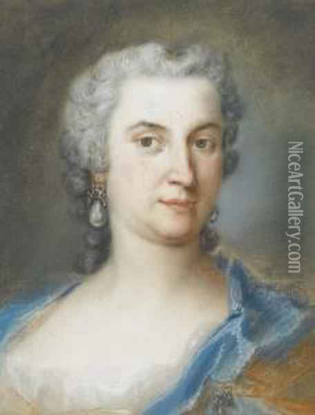 Portrait Of Countess D'orsini, Bust-length Oil Painting - Rosalba Carriera