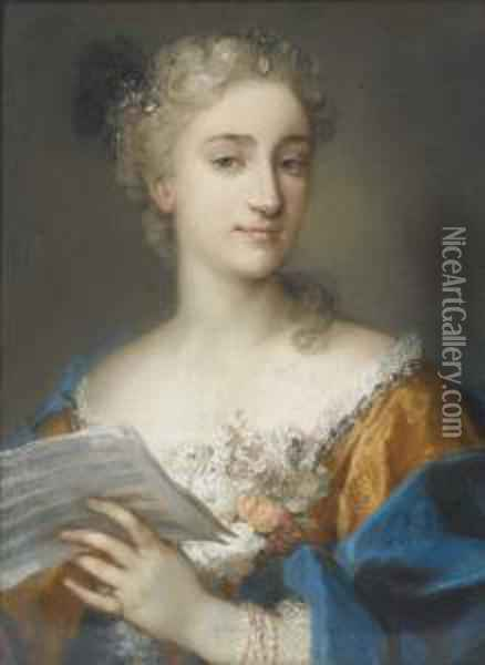 Portrait Of A Woman, Bust-length, Holding A Musical Score Oil Painting - Rosalba Carriera
