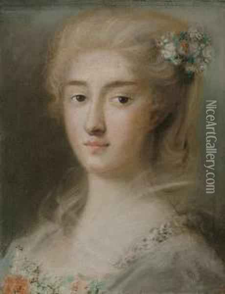 Head Of A Young Girl Oil Painting - Rosalba Carriera