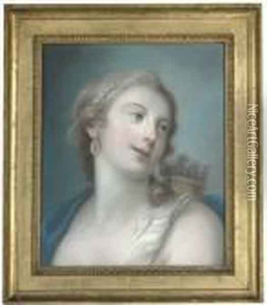 Diana, Bust-length, Turning To The Right Oil Painting - Rosalba Carriera