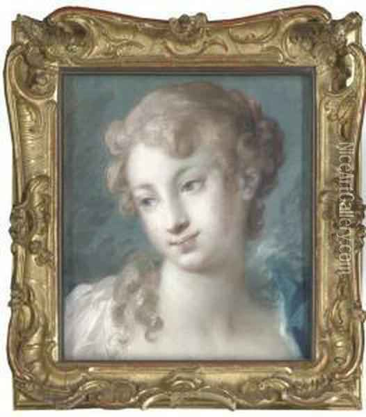 Head Of A Girl Looking Down To The Left Oil Painting - Rosalba Carriera