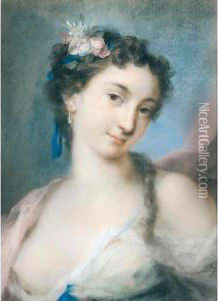 An Allegorical Female Figure, Possibly Spring Oil Painting - Rosalba Carriera