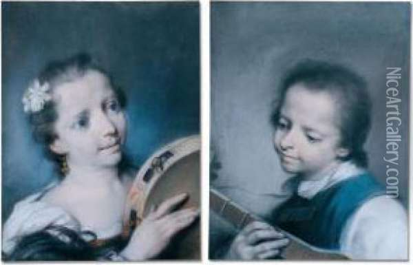 A Pair Of Portraits Of Children With Musical Instruments Oil Painting - Rosalba Carriera