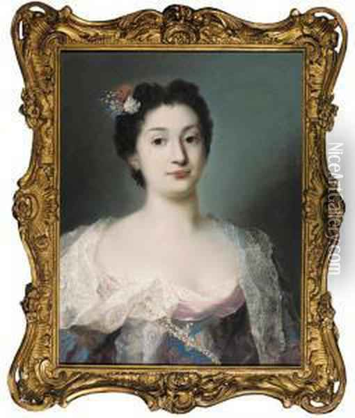 Portrait Of A Woman, Bust Length Oil Painting - Rosalba Carriera