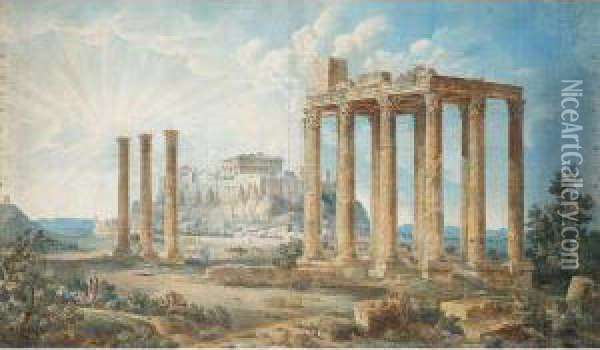 The Acropolis Oil Painting - Louis Francois Cassas