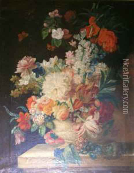 Spring Flowers In An Urn On A Stone Ledge Oil Painting - Pieter Casteels