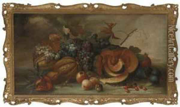 Squashes, Pomegranites, Figs, Grapes, Apples And Peaches Oil Painting - Pieter Casteels
