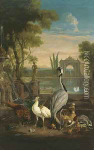 A Demoiselle Crane, A Pheasant, A  Duck And Other Birds In An Italianate Garden With A Lake Oil Painting - Pieter Casteels