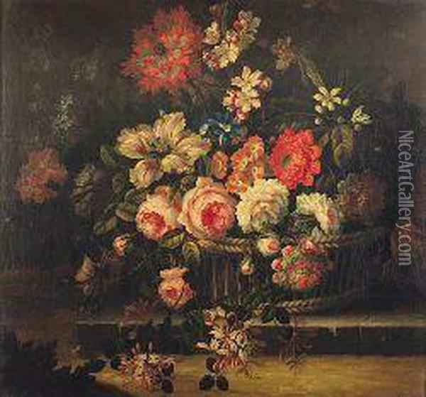 A Still Life Of Assorted Flowers In A Wicker Basket Oil Painting - Pieter Casteels