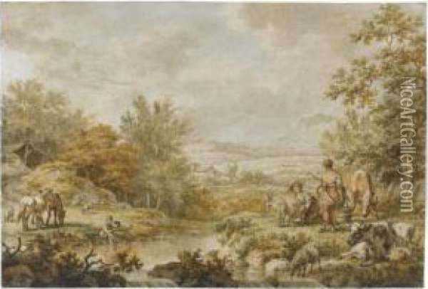 A River Landscape With Farm Animals Grazing And Two Milk Maids Oil Painting - Jacob Cats