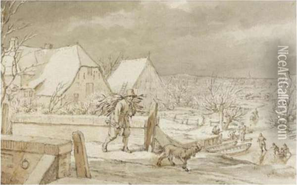 Winter Landscape, With A Woodcutter And His Dog Crossing A Bridge Oil Painting - Jacob Cats