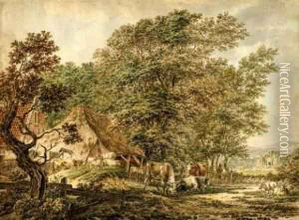 Village Landscape With Cattle Oil Painting - Jacob Cats