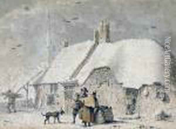 Peasants By A Cottage Oil Painting - Jacob Cats