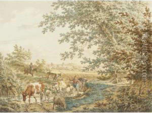 A Wooded Landscape With A Boy  Driving Cattle And Sheep Through A Stream, The Ruins Of Brederode Castle  In The Distance Oil Painting - Jacob Cats
