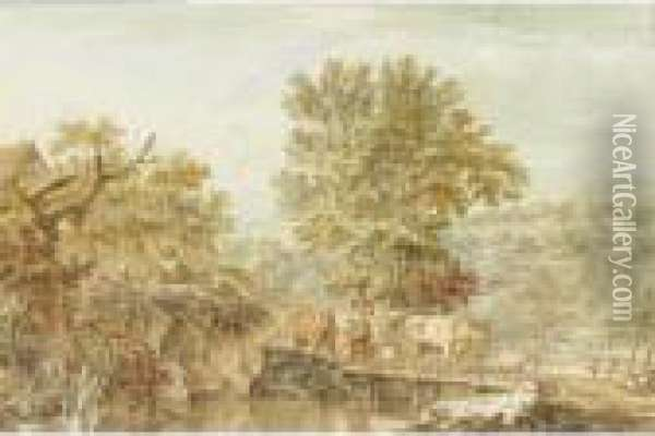 A Wooded Landscape With A Milkmaid Escorting Her Herd Of Animals Across A River Oil Painting - Jacob Cats