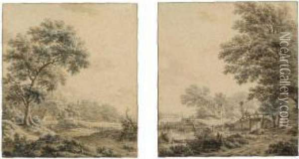 A Pair Of Wooded Landscapes Oil Painting - Jacob Cats