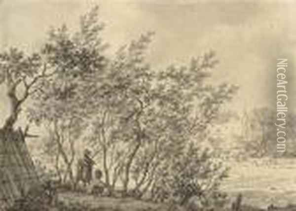 Two Figures In A Copse Watching A Bird Trap, A Castle Beyond Oil Painting - Jacob Cats