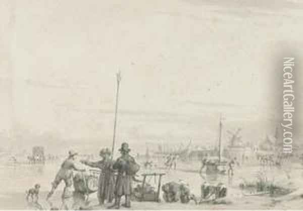 Figures Skating And Transporting Produce On A Frozen River, Awalled Town Beyond Oil Painting - Jacob Cats