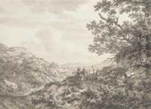 An Extensive Hilly Landscape With Figures Carrying Baskets, Acarriage On A Road Oil Painting - Jacob Cats